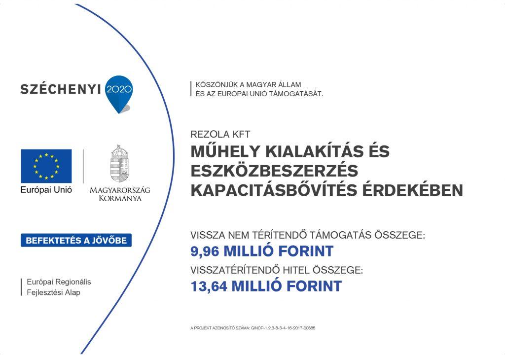 Rezola Széchenyi 2020 tábla
